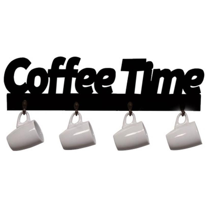 Imagem - XÍCARAS E SUPORTE COFFEE TIME PRETO cód: 38775