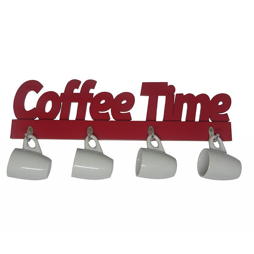Imagem - XÍCARAS E SUPORTE COFFEE TIME VERMELHO cód: 38777