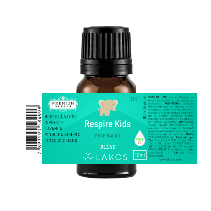 Blend de Óleos Essenciais Respire Kids 10ml V2- Lakos 2