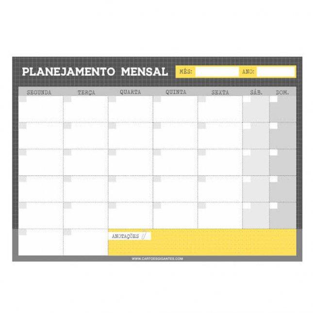 Bloco Planejamento Mensal Básico Cinza e Amarelo