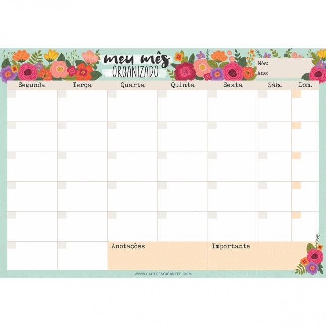 Bloco Planejamento Mensal Floral