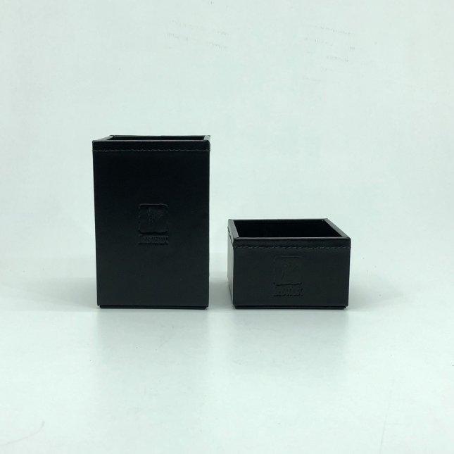 Kit Porta Canetas e Porta Clips em Couro