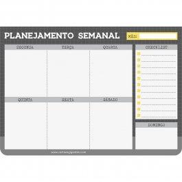 Imagem - Bloco Planejamento Semanal Básico Cinza e Amarelo