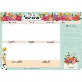 Imagem - Bloco Planejamento Semanal Floral
