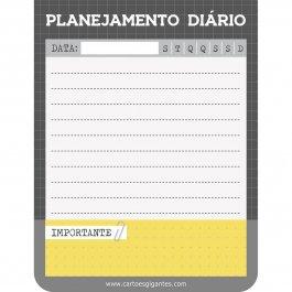 Imagem - Bloco Planejando Meu Dia Básico Cinza e Amarelo