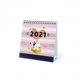 Imagem - Calendário de Mesa 2021 Gatinho Rosa