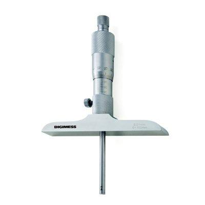 Micrômetro de Profundidade com Hastes Intercambiáveis (Bucha) - Leit. 0,01mm - 0-200mm - Digimess
