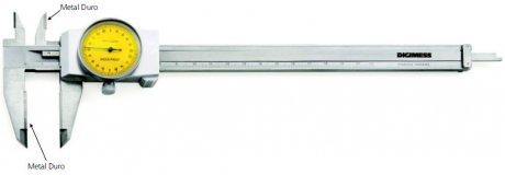 Paquímetro com Relógio (Metal Duro) - 300mm - Leit. 0,02mm - Digimess