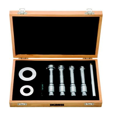 Jogo de Micrômetros Internos com Três Pontas de Contato (4 peças) - 3,5-6,5mm - Leit. 0,001mm - Digimess