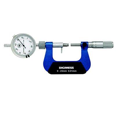 Micrômetro Externo com Relógio Comparador - 0-25mm - Leit. 0,01mm - Digimess