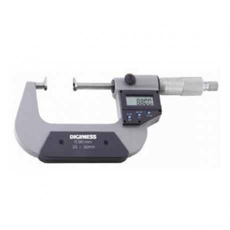 Micrômetro Externo Digital Dentes de Engrenagens - 0-25mm - Leit. 0,001mm - Digimess