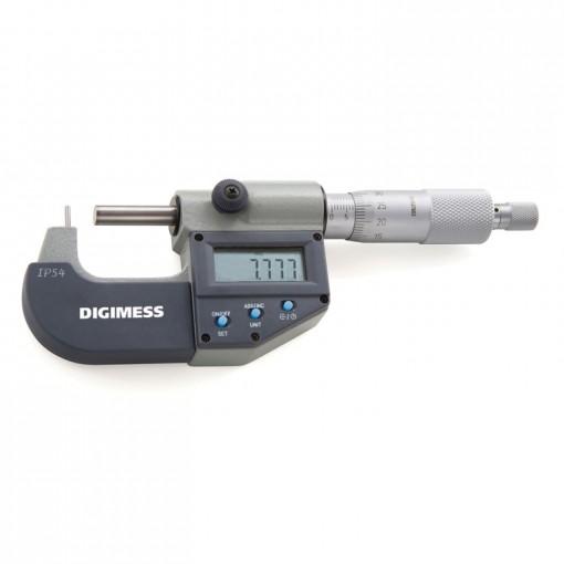 Micrômetro Externo Digital para Tubos (Ponta Cilíndrica) - 0-25mm - Leit. 0,001mm - Digimess