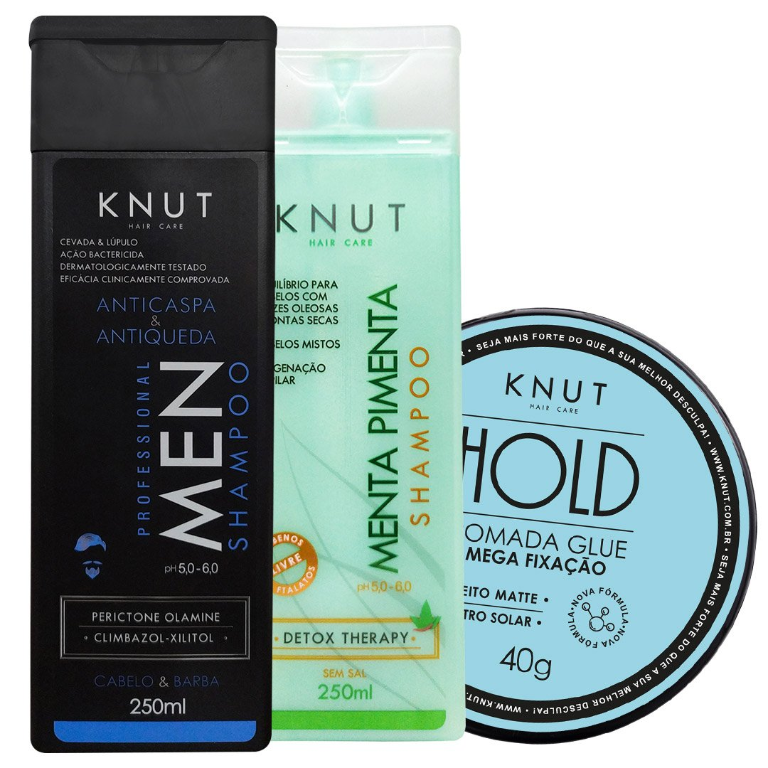 Kit KNUT MEN: Shampoo Men 250ml + Shampoo Menta Pimenta 250ml + Pomada Hold Glue 40g