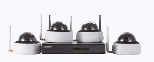 Kit de Monitoramento Hikvision 4 Dome NVR 4D WiFi NK4W1-1T (TB)