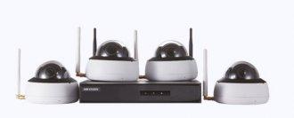 Imagem - Kit de Monitoramento Hikvision 4 Dome NVR 4D WiFi NK4W1-1T (TB) cód: 331