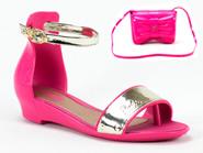 Sandalia Grendene Barbie Rosa  Rosa-Dourado 21174