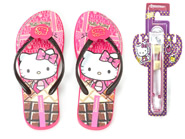 Chinelo Grendene Dedo Hello Kitty Rosa Marrom 25784