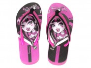 Chinelo Grendene Dedo Monster High Rosa Preto 25907