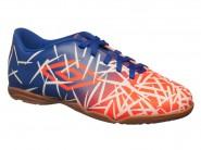 Chuteira Umbro Indoor / Futsal Coral Azul Branco GRASS III JR 0F82034