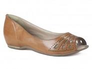 Sapato Comfortflex Peep Toe Caramelo n1576402