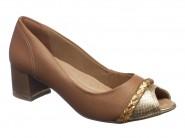 Sapato Comfortflex Peep Toe Marrom 1792302