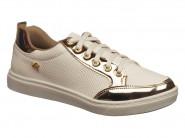 Tenis Via Marte Sport Chic Branco Dourado 16-12415
