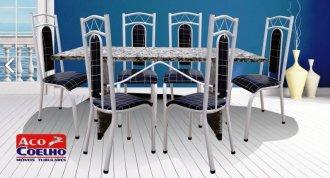 Mesa Paris Aço Coelho c/6 cadeiras