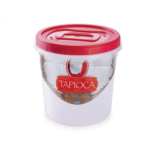 Pote de Plástico Redondo para Tapioca 1,8 L Mantimentos Rosca