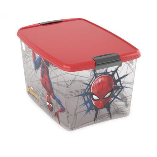 Caixa de Plástico Retangular Organizadora 46 L com Tampa e Travas Laterais Homem Aranha