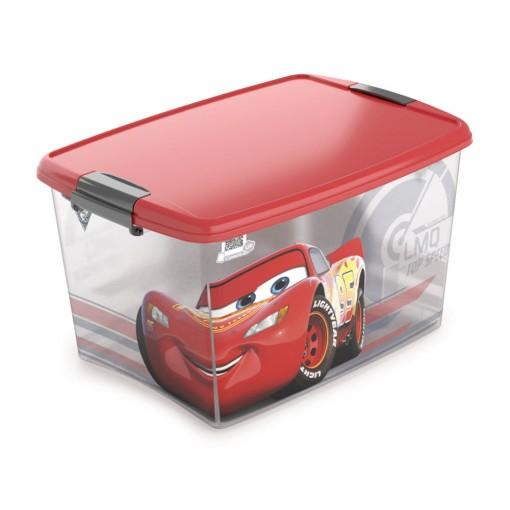 Caixa de Plástico Retangular Organizadora 46 L com Tampa e Travas Laterais Carros