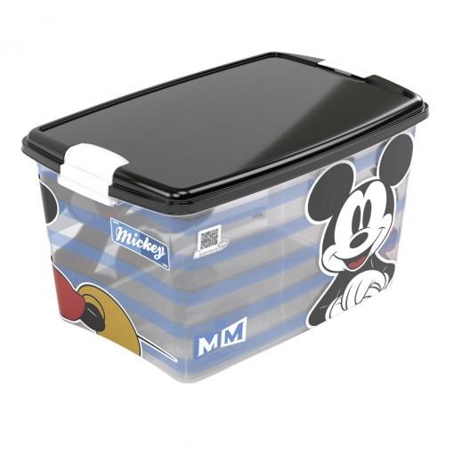 Caixa de Plástico Retangular Organizadora 46 L com Tampa e Travas Laterais Mickey