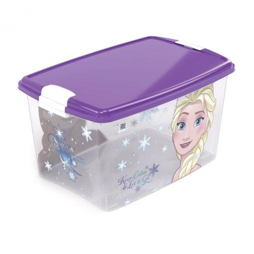 Caixa de Plástico Retangular Organizadora 46 L com Tampa e Travas Laterais Frozen