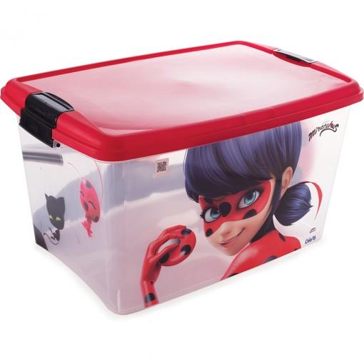 Caixa de Plástico Retangular Organizadora 46 L com Tampa e Travas Laterais Miraculous Ladybug