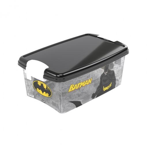Caixa de Plástico Retangular Organizadora 4,2 L com Tampa e Travas Laterais Batman