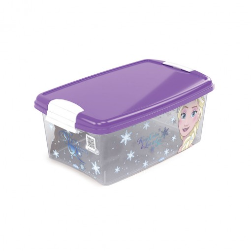 Caixa de Plástico Retangular Organizadora 4,2 L com Tampa e Travas Laterais Frozen