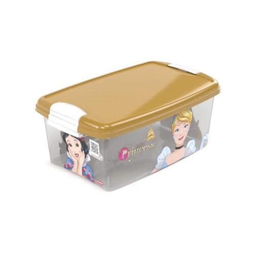 Caixa de Plástico Retangular Organizadora 4,2 L com Tampa e Travas Laterais Princesas
