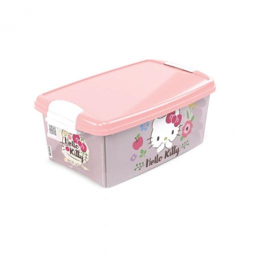 Caixa de Plástico Retangular Organizadora 4,2 L com Tampa e Travas Laterais Hello Kitty