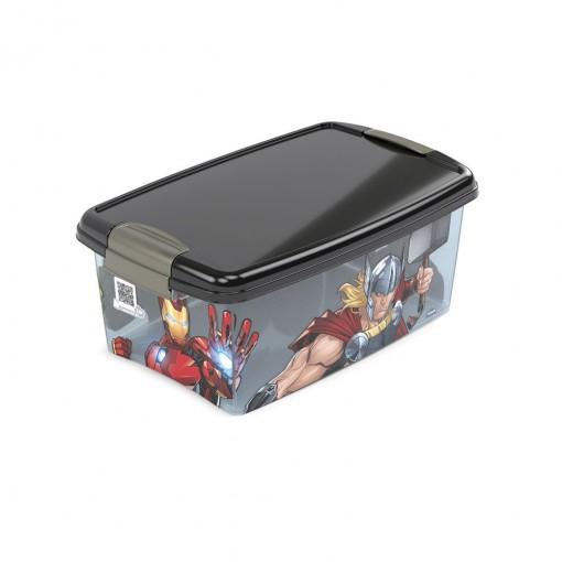 Caixa de Plástico Retangular Organizadora 4,2 L com Tampa e Travas Laterais Avengers