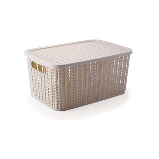 Caixa de Plástico Retangular Organizadora 8 L com Tampa e Pegador Trama