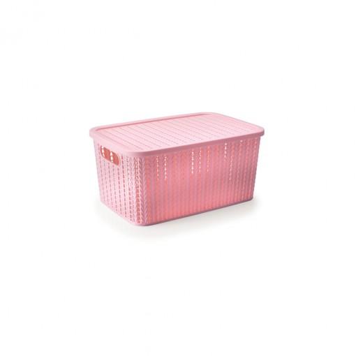 Caixa de Plástico Retangular Organizadora 4,7 L com Tampa e Pegador Trama