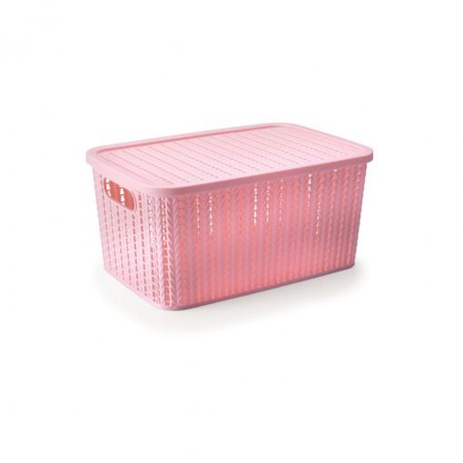 Caixa de Plástico Retangular Organizadora 8 L com Tampa e Pegador Trama Rosa