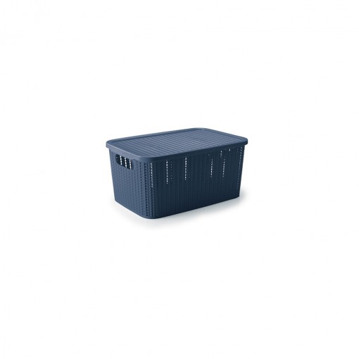 Caixa de Plástico Retangular Organizadora 2,8 L com Tampa e Pegador Trama