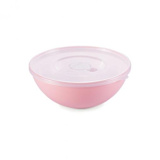 Tigela de Plástico 600 ml com Tampa e Válvula Duo 360° Rosê