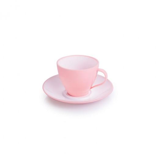 Xícara de Plástico de Café 100 ml com Pires Duo 360° Rosa