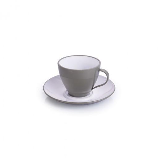 Xícara de Plástico de Café 100 ml com Pires Duo 360°