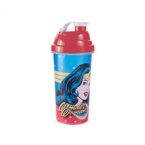 Shakeira de Plástico 580 ml com Tampa Rosca e Misturador Mulher Maravilha