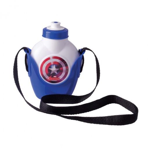 Cantil de Plástico 460 ml com Suporte e Alça Avengers Capitão América