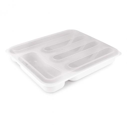Porta Talheres de Plástico com Tampa 5 Divisórias