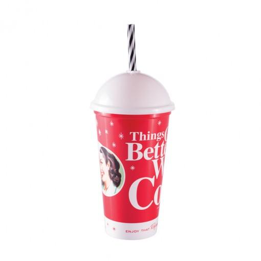 Copo Shake de Plástico 500 ml com Tampa e Canudo Coca Cola