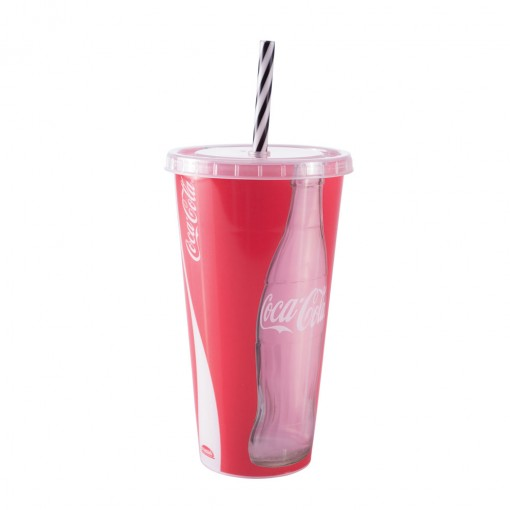 Copo Refrigerante de Plástico 700 ml com Tampa e Canudo Coca Cola